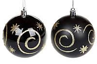 Черные елочные шарики с золотом, пластик 8 см