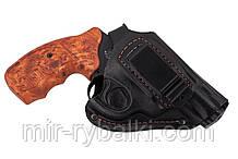 Кобура поясная Револьвер 2,5 формованная с клипсой (кожа, чёрная)