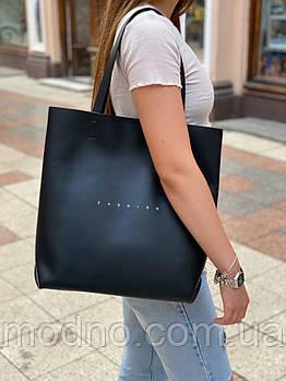Жіноча шкіряна сумка шоппер на плече Polina & Eiterou c написом Fashion