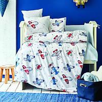 Детский набор в кроватку для младенцев Karaca Home Airship голубой (10 предметов)