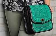 Женская кожаная сумка ручной работы (метод горячего тиснения), мятная сумка, фото 1
