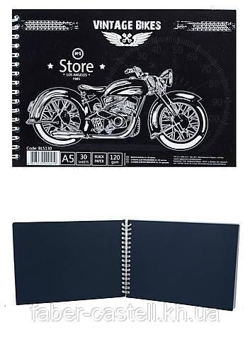Альбом / скетчбук с черной бумагой Sketch block  А5 120 г/м2, 30 листов на спирали, BL 5130