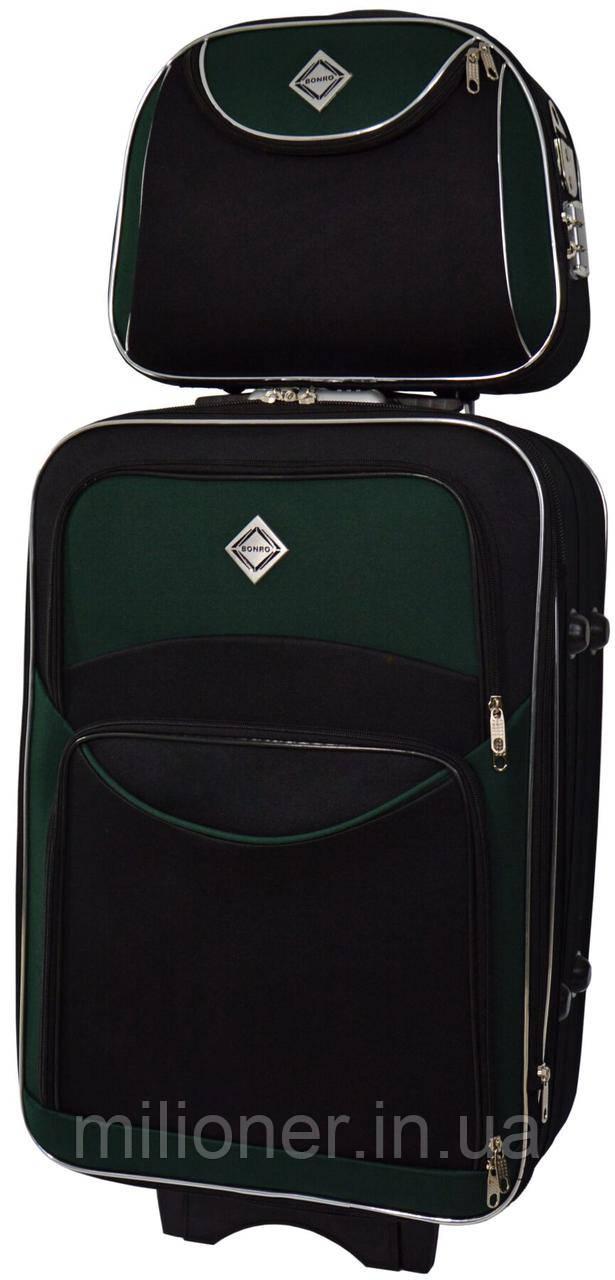 Комплект чемодан + кейс Bonro Style (небольшой) черно-зеленый