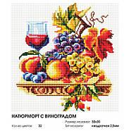 """Алмазная вышивка """"Натюрморт с виноградом"""" Белоснежка 30х30 см, фото 4"""