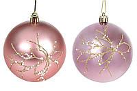 Ялинкова куля 2 кольори: геліотроп і рожевий, пластик з бісером, 8 см