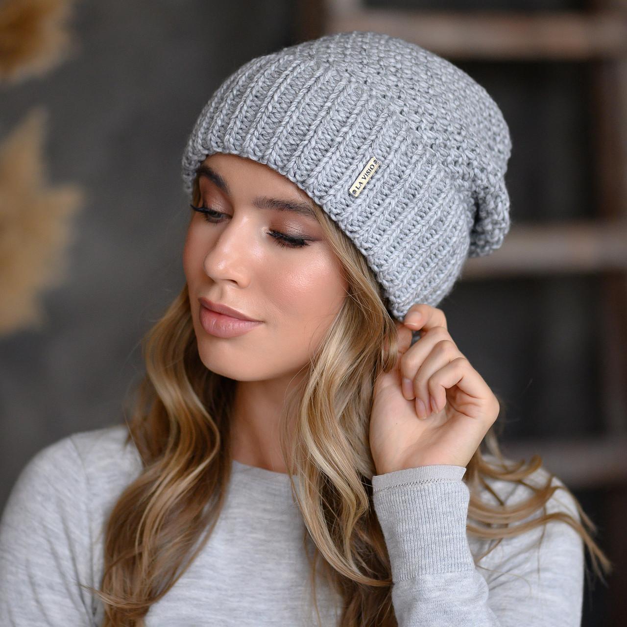 """В'язана шапка """"Естер"""" колір сірий"""
