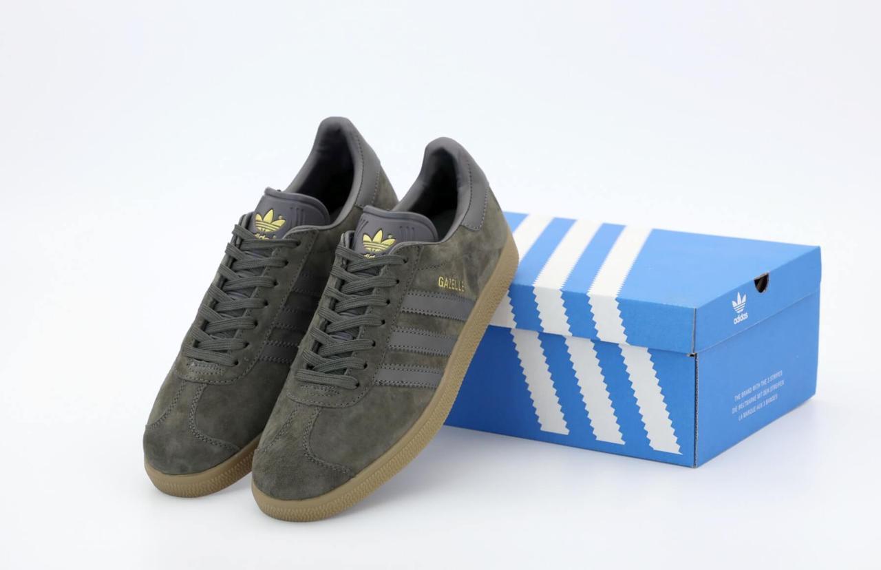 Мужские кроссовки Adidas Gazelle OG в коричневом цвете (Кроссовки Адидас Газели темно-серые замшевые)