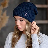"В'язана шапка ""Естер"" колір синій"