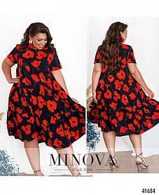 Элегантное платье батал с цветочным принтом, Размеры 50,52,54,56,58,60,62,64