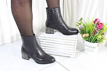 Кожаные ботинки с широким эффектным каблуком Battine B520
