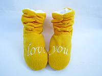 Классные тапочки-сапожки из флиса=Love You=тепло и комфортно, желтые