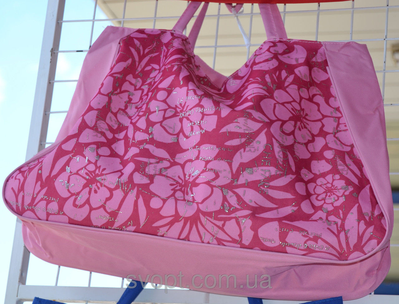 Сумка пляжная 60x50 см розовая
