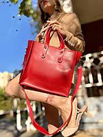 Жіноча сумка червона з екошкіри, фото 1