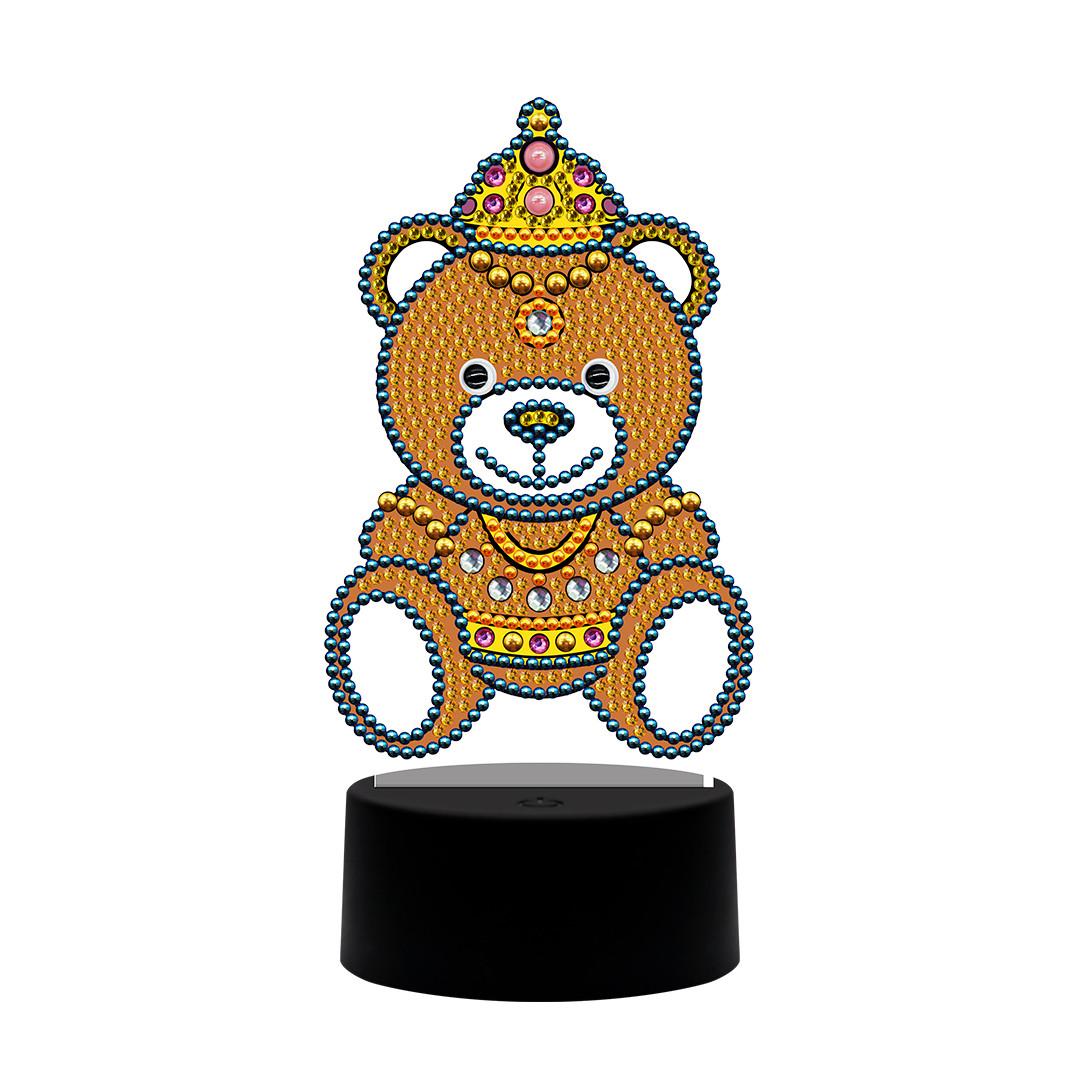 Набор для творчества Crystal art светодиодный светильник с алмазной мозаикой Мишка (MI_DP15)