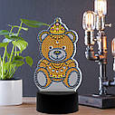 Набор для творчества Crystal art светодиодный светильник с алмазной мозаикой Мишка (MI_DP15), фото 3