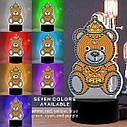 Набор для творчества Crystal art светодиодный светильник с алмазной мозаикой Мишка (MI_DP15), фото 5