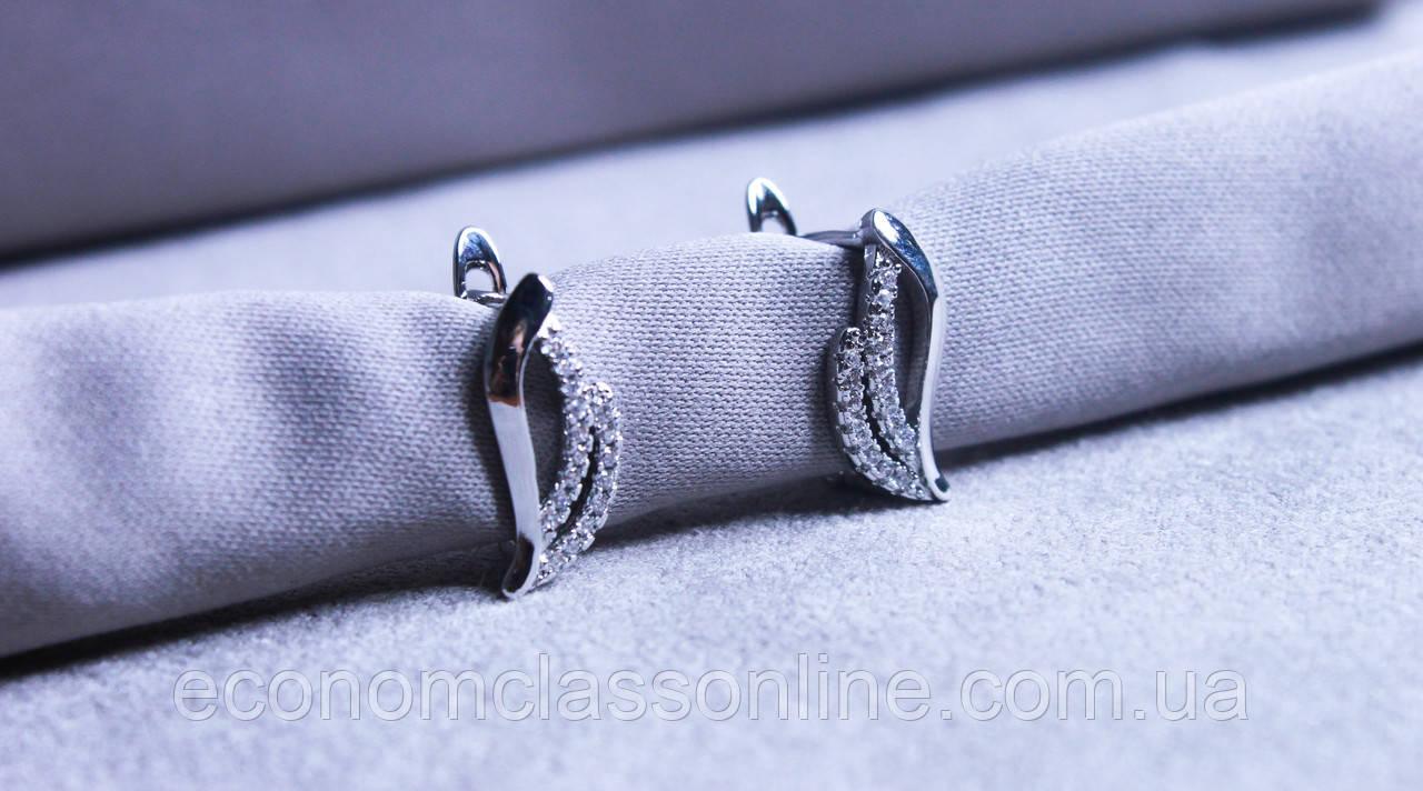 Сережки фірми Xuping з вставками з цирконію (Rhodium color 34)
