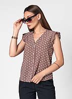 Красивая летняя блуза в горошек , размер 42,44,46,48,50