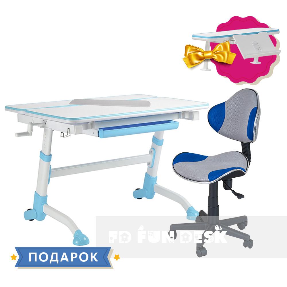 Комплект парта  FunDesk Volare Blue + детский стул для школьника FunDesk LST3 Blue-Grey