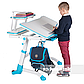 Комплект парта  FunDesk Volare Blue + детский стул для школьника FunDesk LST3 Blue-Grey, фото 8