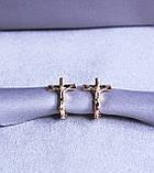 Серьги - крестики фирмы Xuping с мед. золота ( color 64 ), фото 4