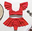 Купальник раздельный с юбкой-баской красный, фото 3