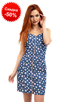 Женское платье сарафан 100% хлопок 131R3011D Женская одежда (размеры: 42, 44, 46) цвет Синий