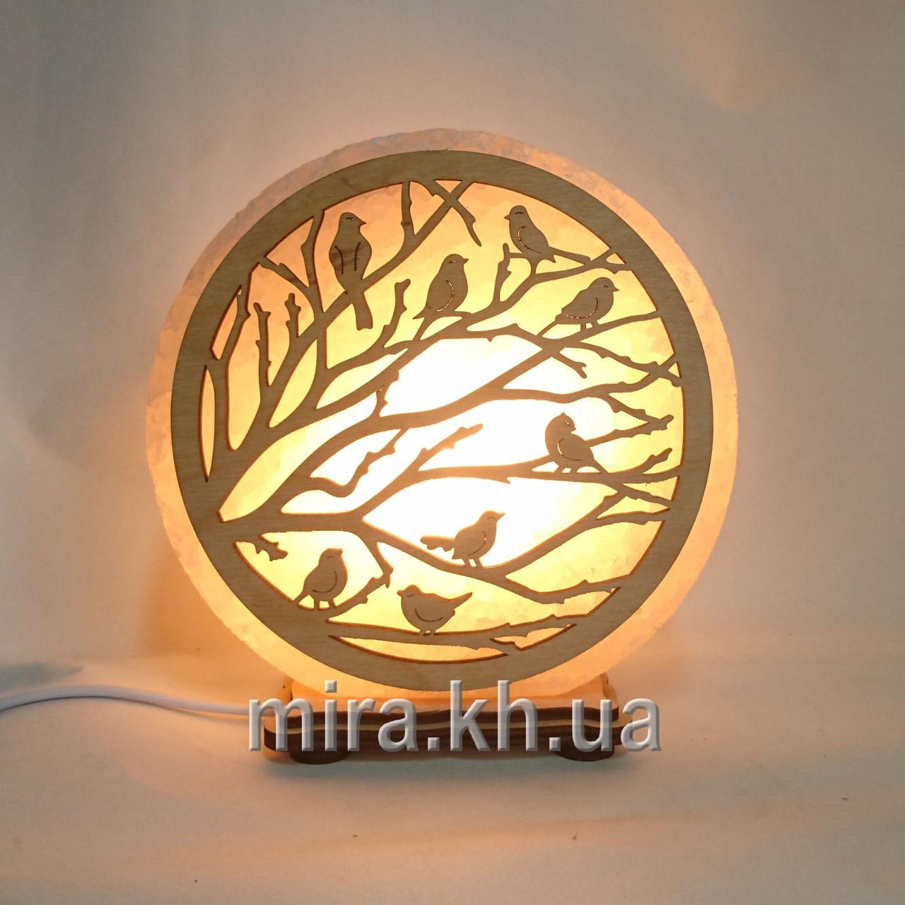 Соляной светильник круглый Воробьи на ветке