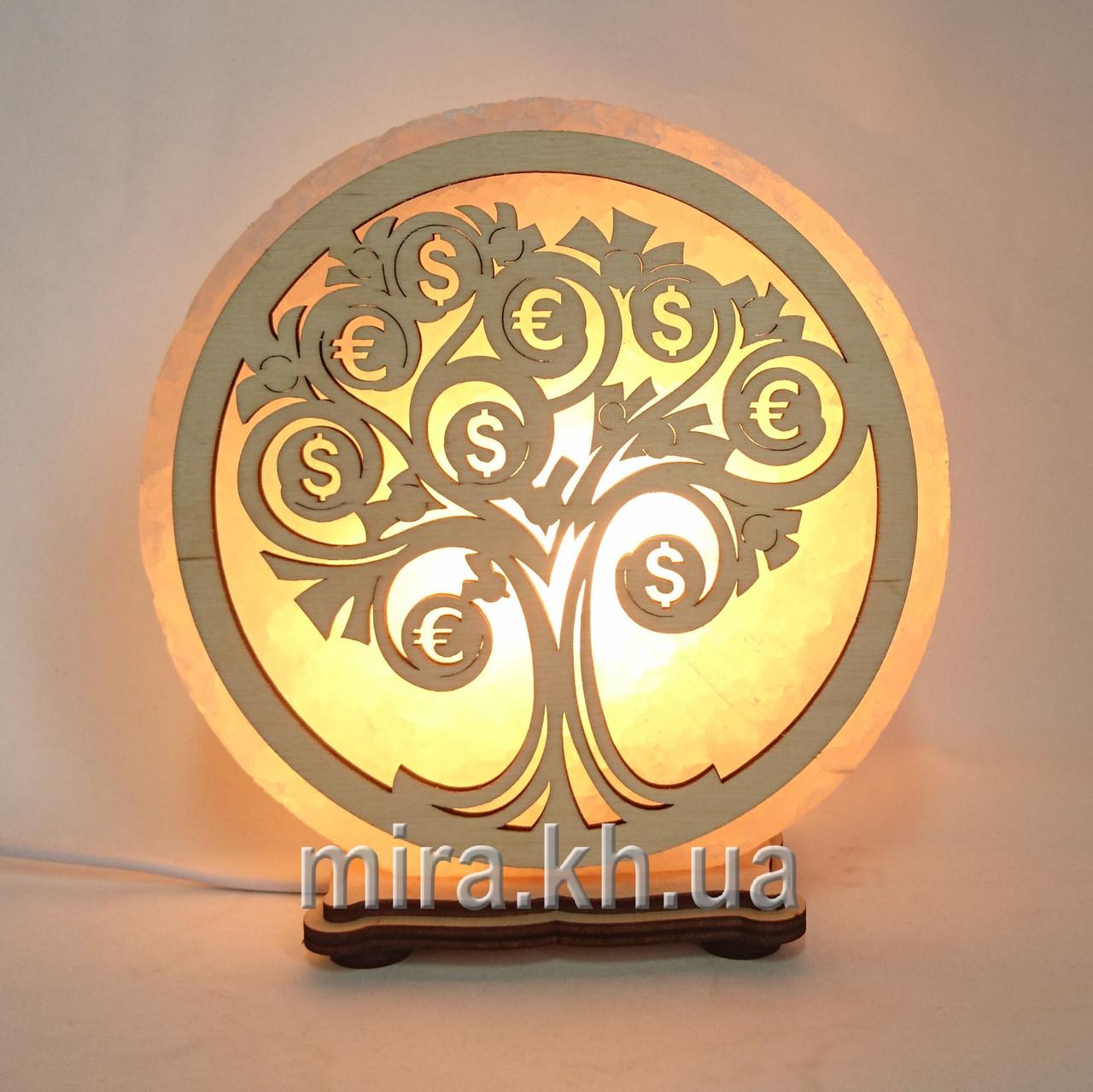Соляной светильник круглый Денежное дерево