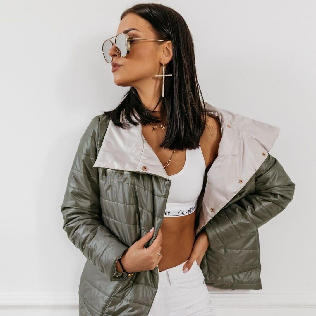 Стильная женская куртка из плащевки на синтепоне