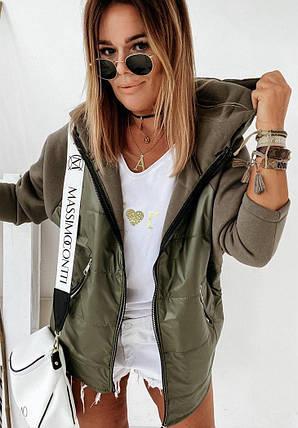 Стильна жіноча куртка з плащової тканини з рукавами та капюшоном, фото 2