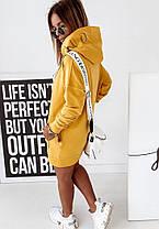 Сукня міні вільний з капюшоном і кишенею гірчиця, фото 3