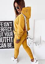 Костюм жіночий штани і кофта з капюшоном гірчичного кольору, фото 2
