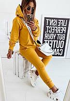 Костюм жіночий штани і кофта з капюшоном гірчичного кольору, фото 3