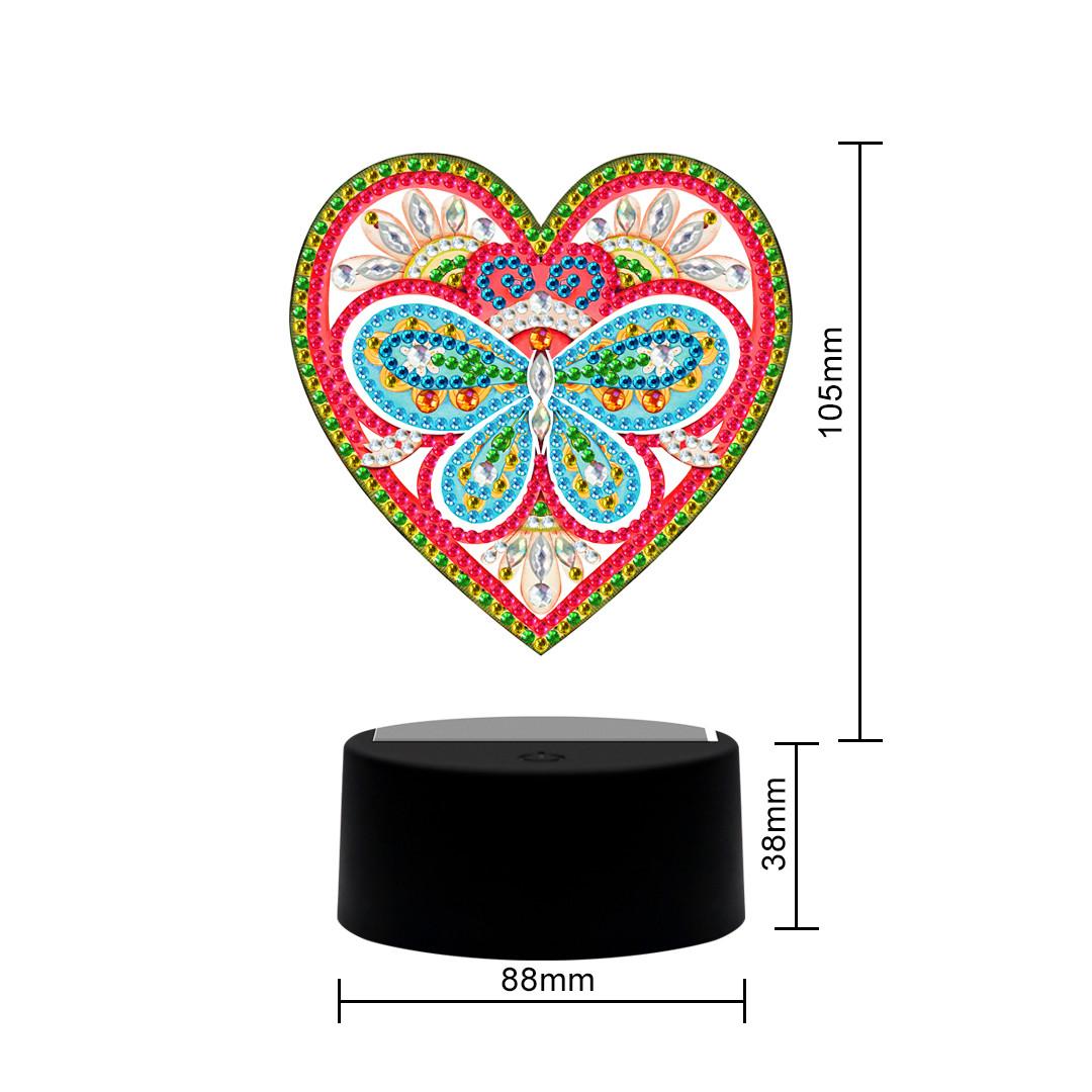 Набор для творчества Crystal art светодиодный светильник с алмазной мозаикой Сердце (MI_DP12)
