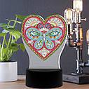 Набор для творчества Crystal art светодиодный светильник с алмазной мозаикой Сердце (MI_DP12), фото 2
