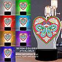Набор для творчества Crystal art светодиодный светильник с алмазной мозаикой Сердце (MI_DP12), фото 5