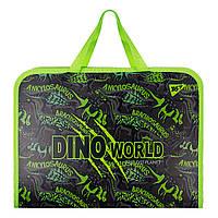 Папка-портфель YES на молнии с тканевыми ручками Dino