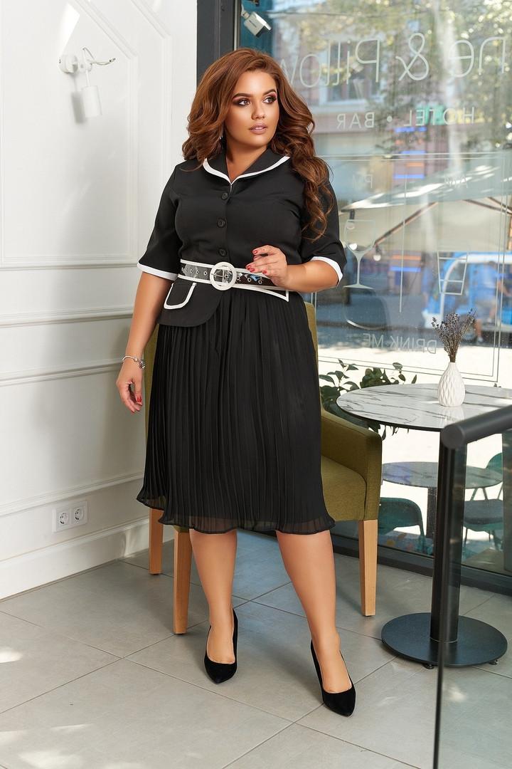Нарядное черное платье с плиссированной юбкой миди больших размеров
