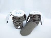 Новинка=Милые тапочки-сапожки из флиса=Зайки=теплые,фабричные,серые