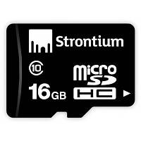 Карта памяти STRONTIUM Flash Miсro-SD memory card 16Gb Class 10 (SR16GTFC10R)