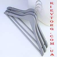 Набор вешалок тремпелей плечиков деревянных для одежды soft-touch (прорезиненых) серебро, 44 см, 3 шт