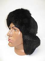 Модная мужская шапка ушанка (мех кролика)