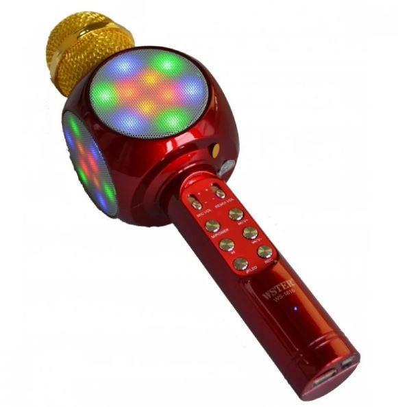 Караоке-микрофон портативный Bluetooth WSTER WS-1816, красный