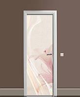 Вінілова наклейка на двері Невагомі Лілії (плівка самоклеюча ламінована ПВХ) квіти Рожевий 650*2000 мм
