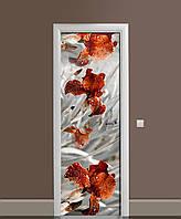Вінілова наклейка на двері Великі Іриси (плівка самоклеюча ламінована ПВХ) квіти Сірий 650*2000 мм