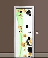 Виниловая наклейка на двери Жидкое золото (ламинированная ПВХ) сферы шары Абстракция Зеленый 650*2000 мм