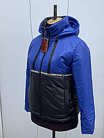 Стильная молодежная спортивная осенняя куртка с высоким горлом в синем цвете 44-54 размеры в наличии