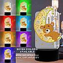 Набір для творчості Crystal art світлодіодний світильник з алмазною мозаїкою Ведмедик на місяці (MI_DP16), фото 5