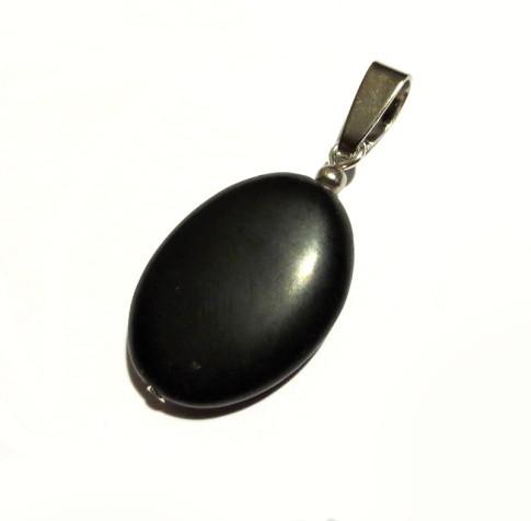Кулон з чорного нефриту, бяньши, срібло